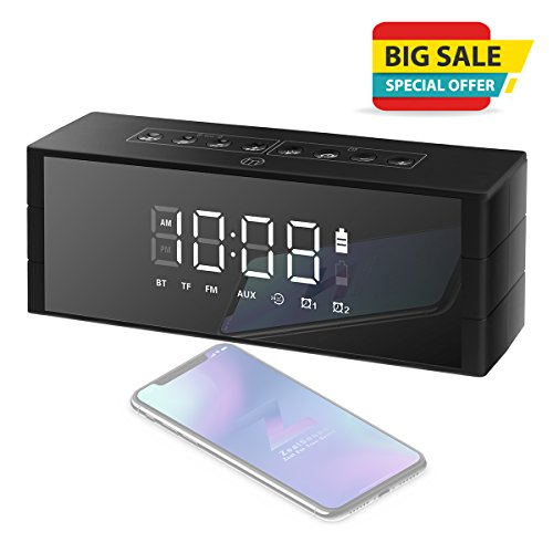 Wireless Bluetooth Speakers, ZealSound Portable Speaker for 24-hour Playtime, Loud Stereo Speaker w/Dual Driver & Enhanced Bass, LED Clock Display with Dimmer, Dual Alarm Clock, FM Radio(Matte Black)