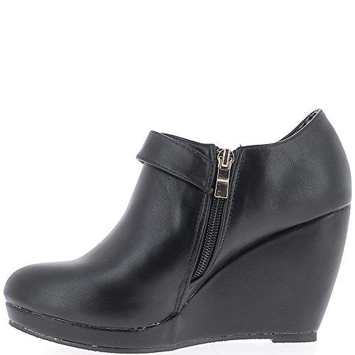 La cuña del talón negro botas de cuero de 9 cm