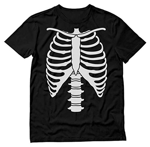 Skeleton T Shirts (Halloween Skeleton Rib Cage Xray Front and Back Print Easy Costume T-Shirt Large)
