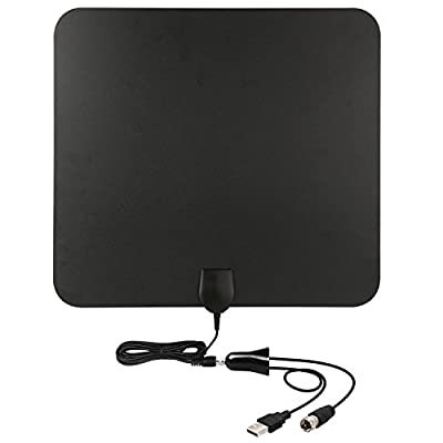 TV Antenna-50 Mile Range with Detachable Amplifier Signal Booster and 10ft High Performance Coax Cable - Upgraded Version Better Reception