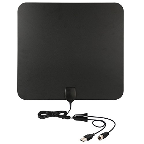 Hd tv antenna 50 mile range with detachable amplifier for Antena tv interior amazon