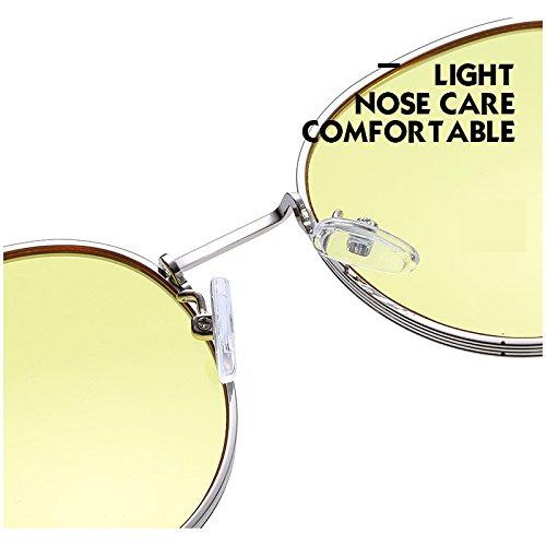 Unisex Steampunk metálico Retro Gafas Mujer para Redondas Lentes de UV400 círculo Argento Bmeigo Hombre Sol q4XOxO