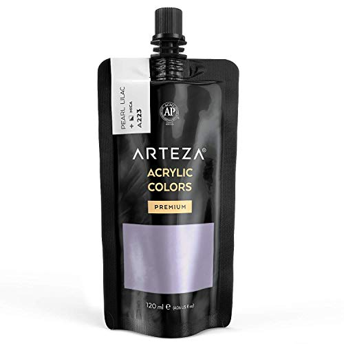 Arteza Metallic Acrylic Paint, Pearl Lilac A223, 120 ml Pouch, Highly Pigmented & Fade-Resistant, Non-Toxic, for Artists, Hobby Painters & Kids