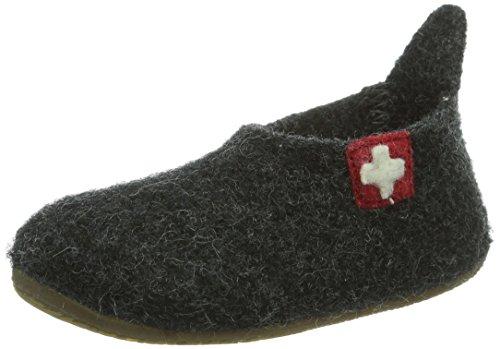 Living Kitzbühel Slipper Schweizer Kreuz - pantuflas de lana niño gris - Grau (600 anthra)