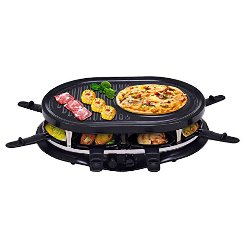 - Costzon Raclette Grill for 8 People w/ Indicator Light, Adjustable Temperature Knob, Includes 8 Paddles and Spatulas, Non-Stick Grill Plate