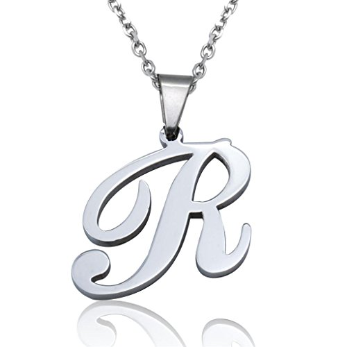 FUNRUN Womens Mens Stainless Steel Initial Letter Pendant Necklace,Letter R