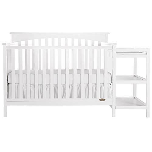 Dream On Me Chloe 5-in-1 Convertible Crib with Changer, White ()