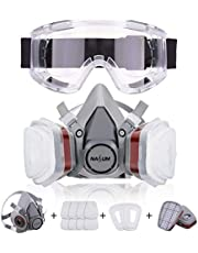Respirator NASUM Dust Mask Paint Mask, for Painting, Dust, Particulate, Chemicals, Machine Polishing, Welding and Other Work Protection, with Safety Goggle & 8Pcs Filter Cotton