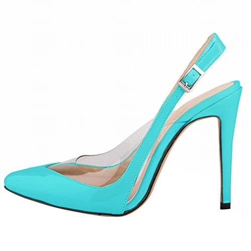 Wotefusi Women Summer Transparent Splicing Close Toe Ankle Strap Sandals Shoes High Heels Stilettos Sky Bule 1umFGtdQI