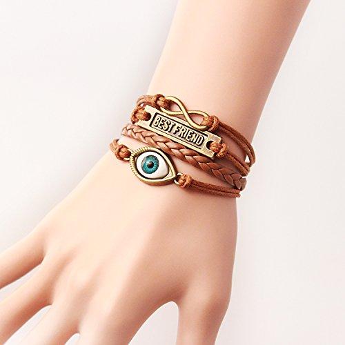 Wandafull Eternal Best Friend Eye Leather Cuff Bracelet Diy Handmade Brown