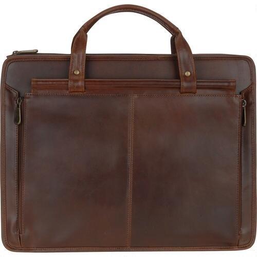 Wilsons Leather Mens Dakota Side Rod Zip Leather Brief Brown
