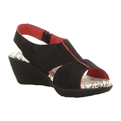 Clamp Spartacus Red - Sandalias de vestir de Piel para mujer negro y rojo