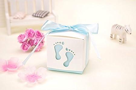 FLORATECK/ /drag/ées de 50/pcs Baby Shower mignon b/éb/é Motif empreinte Chocolat lemballage Candy Box Bo/îte cadeau pour enfants anniversaire Baby Shower invit/és f/ête de mariage Fournitures bleu cl