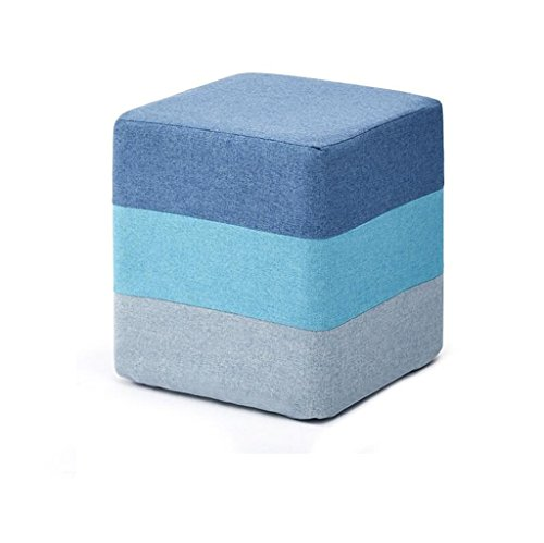 Yzdz Foot Rest Small Chair Footstool Living Room Sofa Dressing Change Shoes Stool Upholstered Foot Stool Stool Seat Pouf Storage Ottoman Chair Bench Blue (Size : Round)