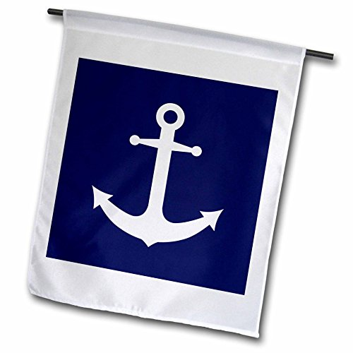 Janna Salak Designs Nautical – Navy Blue and White Nautical Anchor Design – 18 x 27 inch Garden Flag (fl_165798_2) Review