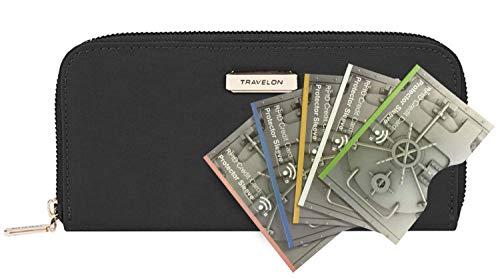 - Travelon RFID Blocking Single Zip Wallet with 5 RFID Blocking Sleeves, Black