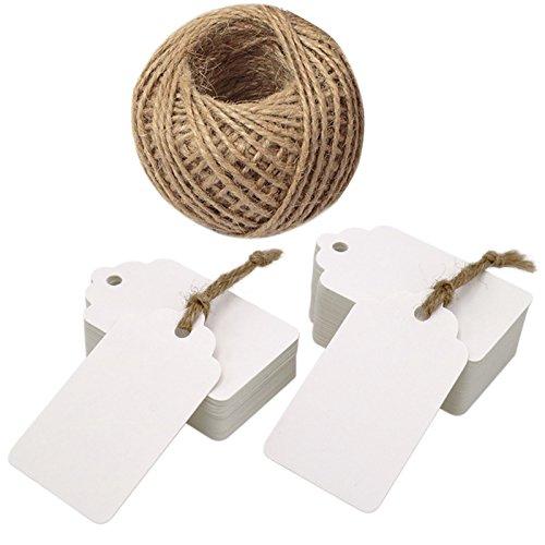 (100 PCS 7 x 4 cm Black Kraft Paper Tags Gift Tags, Rectangular Kraft Hang Tags with 100 Feet Jute)