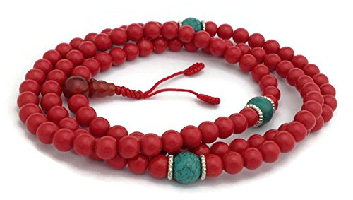 Tibetan Red Coral 108 Beads Full Mala Necklace for Meditation and Yoga