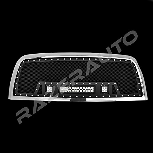 Razer Auto Rivet Black Stainless Steel Mesh Grille+Chrome Shell+2x LED+1x LED Light Bar, Complete Factory Replacement Grille Shell for 2010-2017 Dodge RAM 2500/3500 (Chrome Stainless Steel Mesh Grille)
