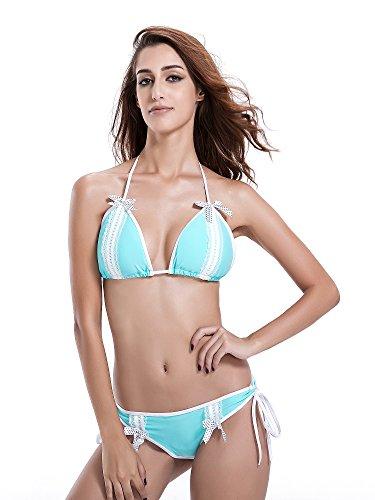 Reteron Women's Lace Triangle Brazilian Bikini Sets Swimsuit (M,Aqua Sky) (Fabric Magic Sheer)