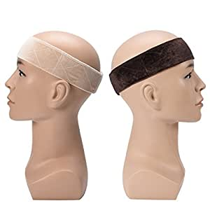 Wig Band Elastic ULG Wig Headband Grip Velvet Scarf Head Hair Comfort Velcro Adjustable Extra Hold Non Slip Bands Beige Brown 2 Piece
