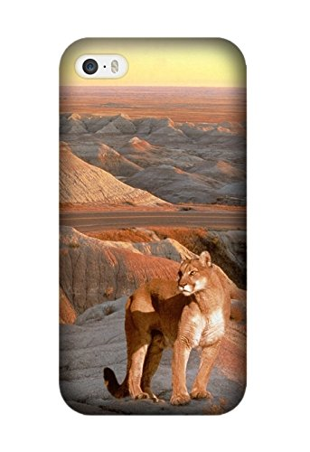 Personalized Protective Hard Textured Animal Cougar Cell Phone Case Cover Compatible with Iphone ()