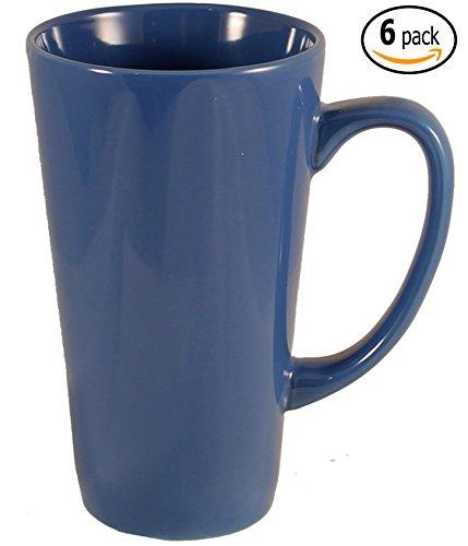 ITI Ceramic Tall Funnel Cup Coffee Mugs with Pan Scraper, 16 Ounce (6-Pack, Light (Tall Ceramic)