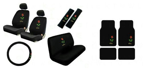 2 Low Back Front Bucket Seat Covers with Separate Headrest Cover, 1 Steering Wheel Cover, 2 Shoulder Harness Pressure Relief Cover,1 Bench Cover, 2 Front and 2 Rear Floor Mats - Love Rose Red