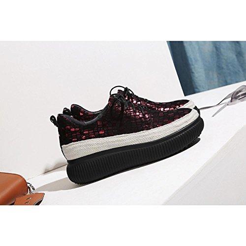 Zapatos con Cerrada WSXY Plataforma A0315 KJJDE Impreso Salón De Cuero Mujeres B wTdq48x85