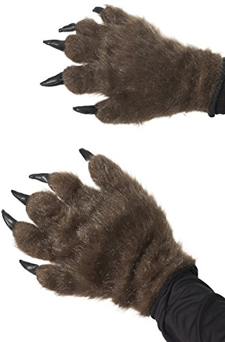 Smiffys Adult Unisex Hairy Monster Hands  Brown  One Size  36670