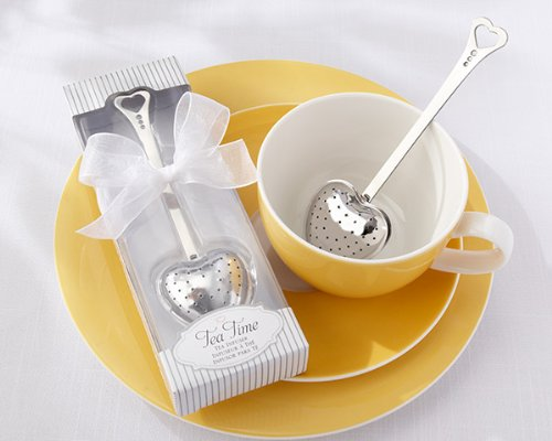 48 ''Tea Time'' Heart Tea Infusers in Elegant White Gift Boxes