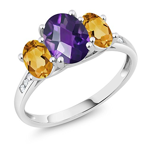 Cut Stone Ring 3 Citrine (10K White Gold Diamond Accent Checkerboard Purple Amethyst Yellow Citrine 3-Stone Ring 1.80 Ct, Available in size (5,6,7,8,9))