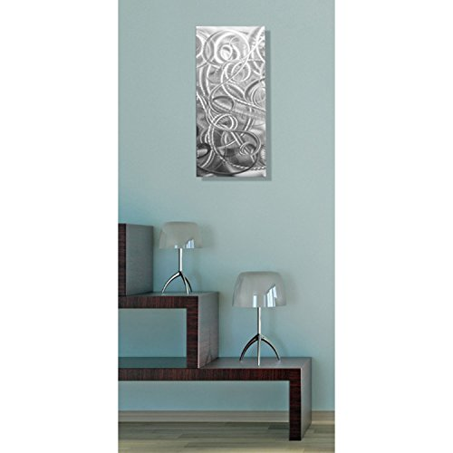 Statements2000 Modern Contemporary All Natural Silver Metal Wall Accent - Abstract Home Office Decor Sculpture Art - Delight by Jon Allen