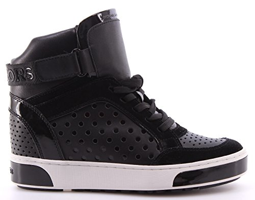 Scarpe Donna Sneakers MICHAEL KORS Pia High Top Lasered Leather Black Nere Nuove