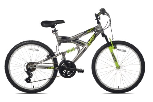 Northwoods Aluminum Full Suspension Mountain Bike, 24-Inch, Grey/Green (Mongoose Mountain Bike Boys)