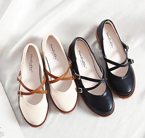 Automne Vintage tudiant Chaussures Mary Jane Minimaliste Femme Noir Mocassins 5vRnqwfHx