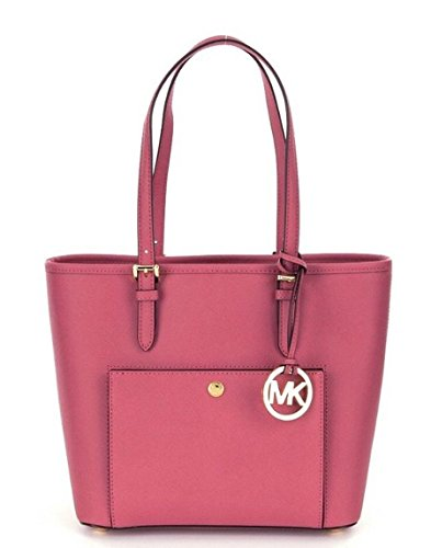 Michael Kors Jet Set Tulip Medium Snap Pocket Tote (Leather Tulip)