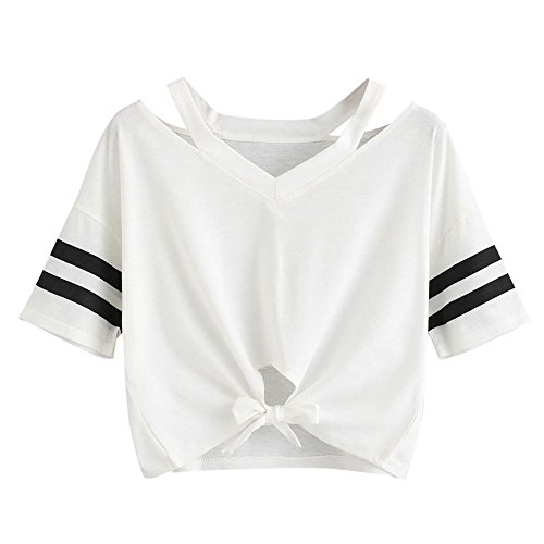 Price comparison product image Women's Summer Short Sleeve T-Shirt Bandage Strap Round Neck Casual Short Sport Blouse White