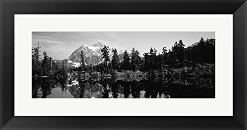 Reflection of trees and mountains in a lake, Mount Shuksan, North Cascades National Park, Washington State (black and white) by Panoramic Images Framed Art Print Wall Picture, Black Flat Frame, - State Washington Lake Black