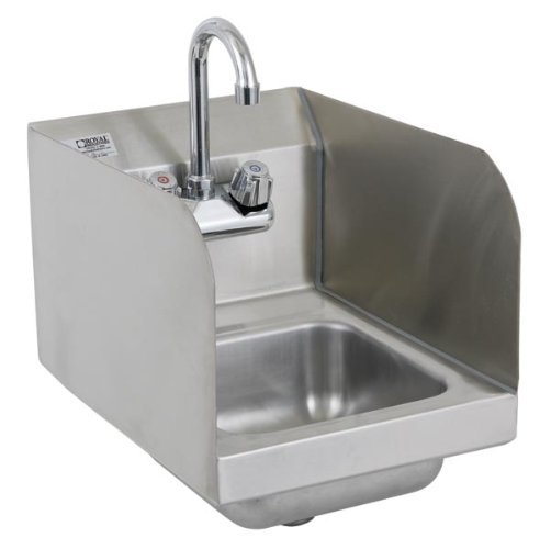 Royal Industries Commercial-Restaurant Wall-Mounted Hand Sink w/ Faucet and Splashguard 12'' by Royal Industries