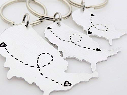 USA map keychain Long Distance Relationship keychain Choose your location  States LDR Long Distance Love best friend family going away gift