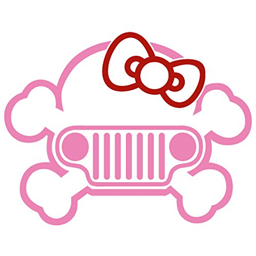 Jeep Skul Hello Kitty Bow Two Color / Vinyl Decal Sticker (J-07) (Pink, 4'' x 3.1'')