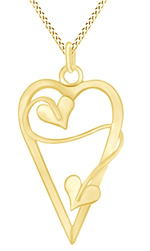 AFFY Valentine's Day Sweetheart Long Heart Vine Pendant in 14k Yellow Gold Over Sterling Silver