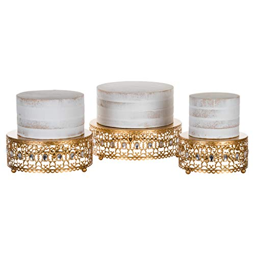 3-Piece Metal Cake Stand Risers Set with Crystal Rhinestones (Gold) (Gold) by Amalfi Décor (Image #3)