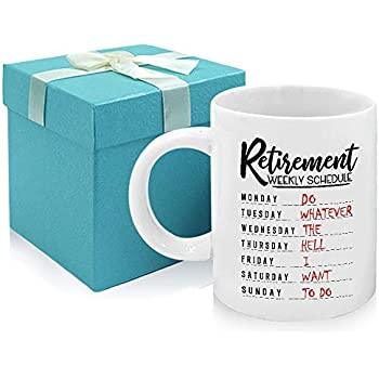 Tom Boy Retirement Gifts for Women Men Coworker Retirement Weekly Schedule Coffee Mug Retired Gift Idea Gag Presents Tea Cups 11oz