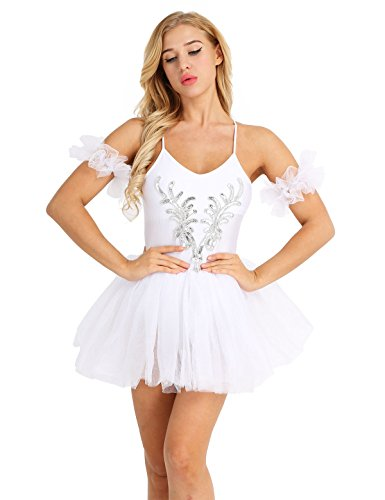 YiZYiF Women's Ballet Tutu Bustle Costume 3D Flower Swan Lake Dance Leotard Dress White Medium -