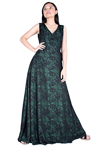 Sexy Anime Dress Up (Prom Dress Formal Evening Ball Gown Long Bridesmaid Maxi Wrap Graduation Party Sexy (3X-Long 57 inch, Black Lace/ Green))