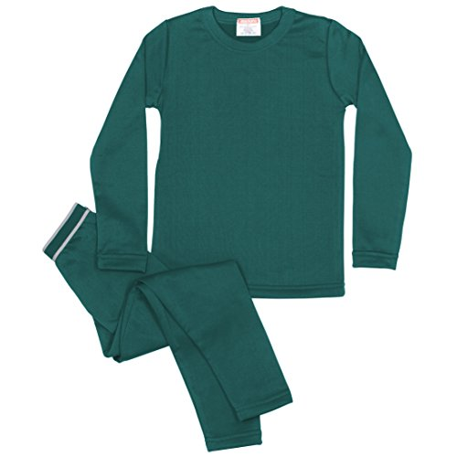 Rocky Boy's Fleece Lined Thermal Underwear 2PC Set Long John Top and Bottom (L, Jade)