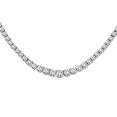 20 ct. Graduated Diamond Riviera Tennis Necklace in Gold / Platinum / Silver (Color IJ, Clarity I1)