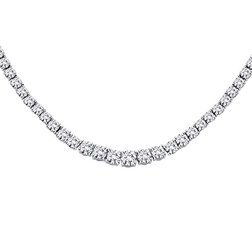 Tennis Necklace Round Diamond - KATARINA 6 ct. Graduated Diamond Riviera Tennis Necklace in 14K White Gold (Color GH, Clarity I2-I3)